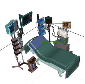 3D Hospital Room with ICU Equipment