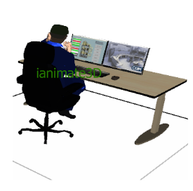 3D Man Working at Computer