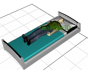 3D Hospital Bed with Patient